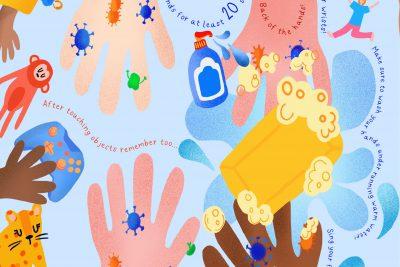 Ein buntes Schaubild der United Covid Response, dass auf das nötige Händewaschen hinweist.