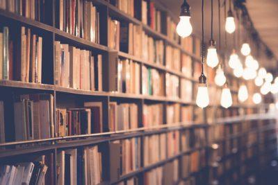 Ein sehr gut gefülltes Bücherregal.
