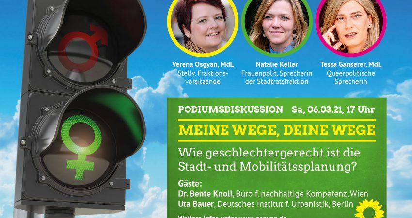 """Einladung zur Grünen Podiumsdiskussion mit dem Titel """"Meine Wege, deine Wege""""."""